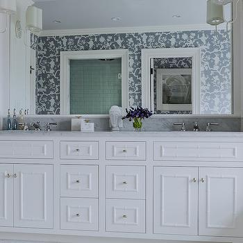 Bathroom Wallpaper, Transitional, bathroom, Katie Rosenfeld Design