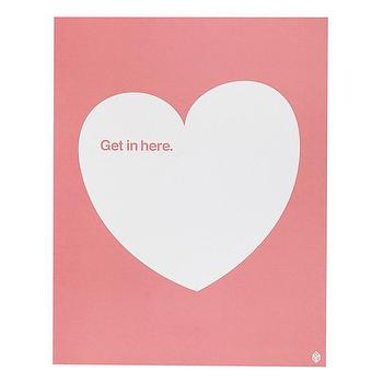 Art/Wall Decor - Get In Here Pink Heart Print | The Land of Nod - pink heart wall art, get in here heart print, pink and white heart print,
