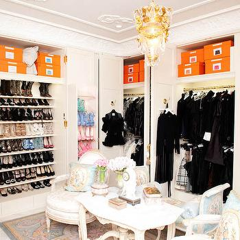 The Coveteur - closets - french closets, built ins, closet built ins, built in wardrobe, wardrobe cabinets, slanted shoe shelves, slanted shelves for shoes, shoe storage, french furniture, closet furniture, french chairs, french tables, marble table, french marble table, french rug,