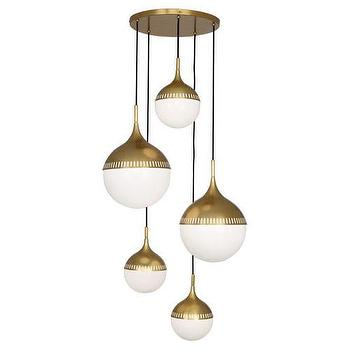 Lighting - Jonathan Adler Rio Multi-Globe Chandelier design by Robert Abbey I Burke Decor - retro style brass chandelier, antique brass globe chandelier, antique brass orb chandelier, antique brass and white glass chandelier,