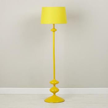 Lighting - Checkmate Floor Lamp Base (Yellow) | The Land of Nod - yellow floor lamp, glossy yellow floor lamp, modern yellow floor lamp,