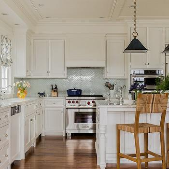 Aqua Glass Tile Backsplash, Cottage, kitchen, Katie Rosenfeld Design