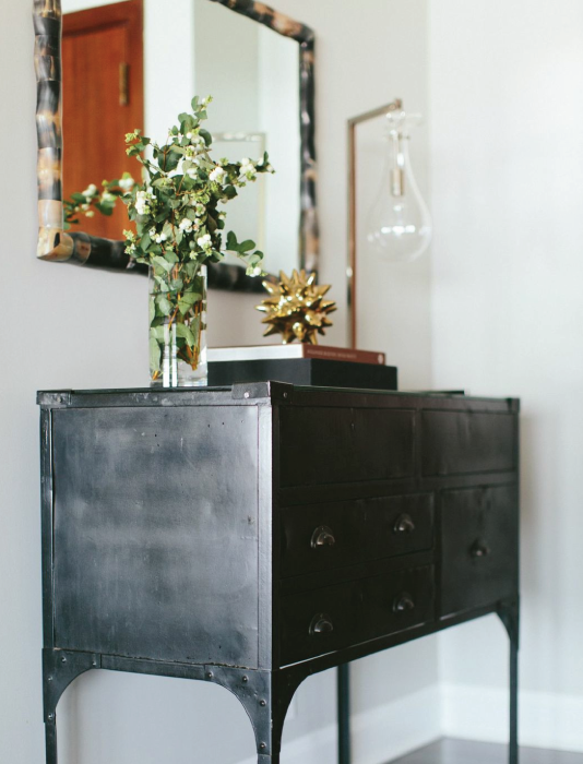 Alexandra Kaehler Design - entrances/foyers - metal console table, metal console table, black metal console table, tear drop lamp, tear drop table lamp, gold urchin object, foyer table, foyer chest,