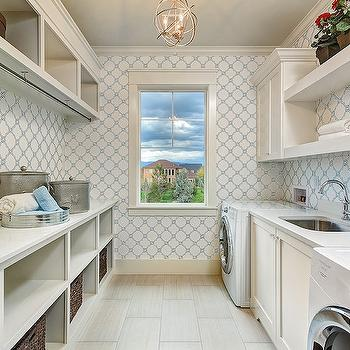 Quatrefoil Wallpaper, Transitional, laundry room, Clark and Co Homes