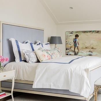 Blue Border Bedding, Transitional, bedroom, Katie Rosenfeld Design