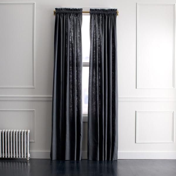 Dwellstudio Linen Slub Curtain Panel In Charcoal Dwellstudio