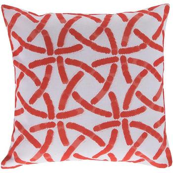 Pillows - DwellStudio Celtic Trellis Persimmon Outdoor Pillow | DwellStudio - coral pink trellis pillow, coral pink celtic pillow, coral pink and white pillow,