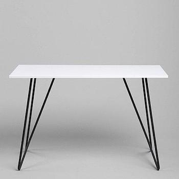 Tables - Metal Tubing Desk I Urban Outfitters - metal based desk, iron based white desk, modern metal based desk,
