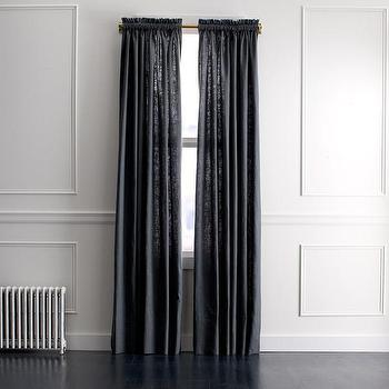 Window Treatments - DwellStudio Linen Slub Curtain Panel in Charcoal | DwellStudio - dark gray linen drapes, charcoal gray linen drapes, charcoal gray linen curtains,