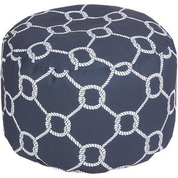 Seating - DwellStudio Rope Trellis Navy Outdoor Pouf | DwellStudio - navy geometric round pouf, navy trellis outdoor pouf, navy rope print pouf,