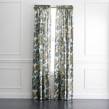 Window Treatments - DwellStudio Ming Dragon Curtain Panel in Midnight | DwellStudio - dragon print drapes, blue and yellow dragon print drapes, dragon print curtains,