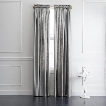 Window Treatments - DwellStudio Linen Slub Curtain Panel in Greystone | DwellStudio - gray linen drapes, gray linen curtains, gray linen window panels,