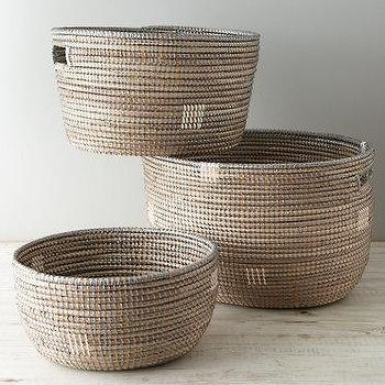 Decor/Accessories - Eileen Fisher Senegal Baskets I Garnet Hill - seagal baskets, round woven basket, senegalese baskets,