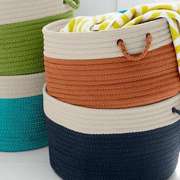 Decor/Accessories - Polypropylene Indoor-Outdoor Braided Baskets I Garnet Hill - braided orange basket, braided navy basket, braided turquoise basket, braided green basket,