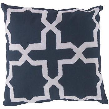 Pillows - DwellStudio Madurai Navy Outdoor Pillow | DwellStudio - navy moroccan pillow, navy moorish pillow, navy moroccan tile pillow,
