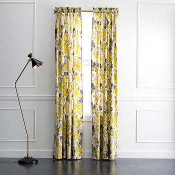 Window Treatments - DwellStudio Landsmeer Curtain Panel | DwellStudio - gray and yellow floral drapes, gray and yellow floral curtains, gray and yellow floral curtain panels,