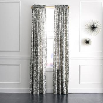 Window Treatments - DwellStudio Vreeland Curtain Panel | DwellStudio - gray and white geometric drapes, gray geometric curtains, gray lattice geometric, gray lattice curtains,