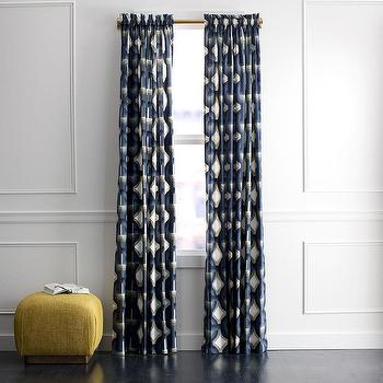 Window Treatments - DwellStudio Futura Curtain Panel | DwellStudio - geometric blue and taupe drapes, blue and taupe curtains, blue and taupe retro drapes,