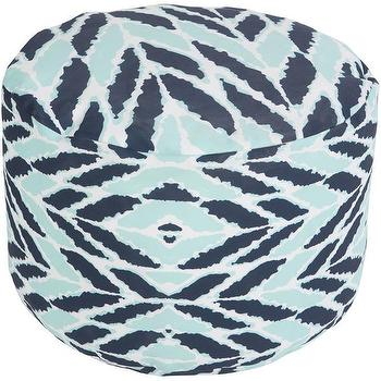 Seating - DwellStudio Arrow Aqua Outdoor Pouf | DwellStudio - navy and aqua pouf, navy and aqua outdoor pouf, modern aqua and navy pouf,