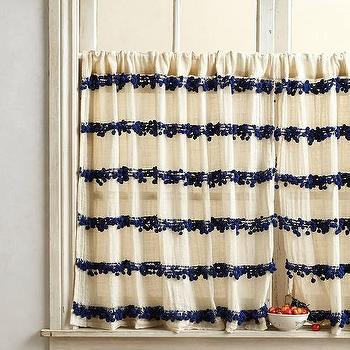 Window Treatments - Swing Stripes Cafe Curtain I anthropologie.com - pom pom trimmed cafe curtains, navy pom pom trimmed cafe curtain, pom pom trimmed striped cafe curtains,
