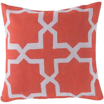 Pillows - DwellStudio Madurai Persimmon Outdoor Pillow | DwellStudio - coral moroccan pillow, coral pink moorish pillow, coral pink moroccan tile pillow,