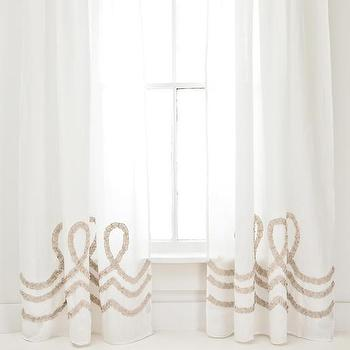 Window Treatments - Ruched Linen White/Platinum Window Panel | Pine Cone Hill - ruched linen drapes, ruched linen curtains, white ruched linen window panels,