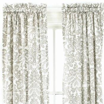 Window Treatments - Imperial Damask Platinum Window Panel | Pine Cone Hill - gray damask drapes, gray damask curtains, gray and white damask drapes,