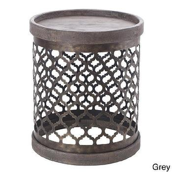 Tables - Intelligent Design Reclaimed Quatrefoil Metal Drum Table | Overstock.com - quatrefoil drum table, quatrefoil metal side table, quatrefoil accent table,