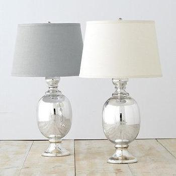Lighting - St. Charles Mercury Glass Table Lamp I Garnet Hill - mercury glass table lamp, silver mercury glass lamp, mercury glass lamp with tapered shade,