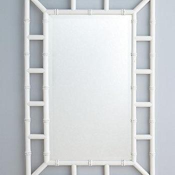 Mirrors - Faux-Bamboo Mirror I Garnet Hill - faux bamboo mirror, white faux bamboo mirror, white chinoiserie mirror,