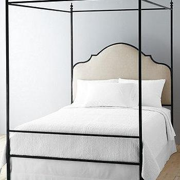 Beds/Headboards - LaSalle Iron Bed I Garnet Hill - iron canopy bed, iron canopy bed with linen headboard, arched iron canopy bed,