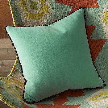 "Pillows - twinfin 16"" pillow I cb2 - aqua blue pillow with pom pom trim, aqua blue velvet pillow, jade pillow, jade green velvet pillow,"