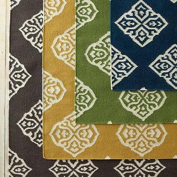 Rugs - Medallion Flat-Weave Wool Rug I Garnet Hill - navy medallion rug, green medallion rug, brown medallion rug, mustard yellow medallion rug,