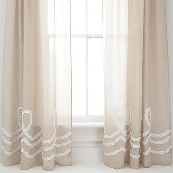 Window Treatments - Ruched Linen Platinum/White Window Panel | Pine Cone Hill - linen drapes with ruched trim, linen curtains with ruched trim, linen window panels with ruched trim,