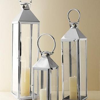 Decor/Accessories - Classic Mogador Lantern I Garnet Hill - chrome lantern, silver lantern, chrome candle lantern,