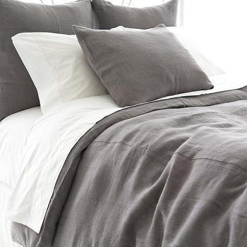 Bedding - Stone Washed Linen Shale Duvet Cover | Pine Cone Hill - dark gray linen duvet, stone washed linen duvet, gray linen duvet, gray linen bedding,