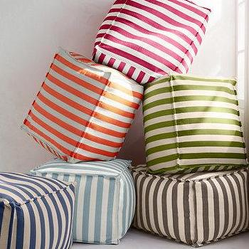 Seating - Trimaran Stripe Indoor-Outdoor Pouf by Dash & Albert I Garnet Hill - striped outdoor pouf, red striped pouf, green striped pouf, brown striped pouf, orange striped pouf, blue striped pouf, navy striped pouf,