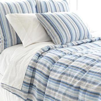Bedding - Honfleur Linen Duvet Cover | Pine Cone Hill - blue striped bedding, blue striped bed linens, blue striped duvet,