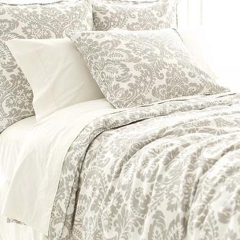 Bedding - Imperial Damask Platinum Duvet Cover | Pine Cone Hill - gray damask duvet, gray damask bedding, gray and ivory damask duvet cover,