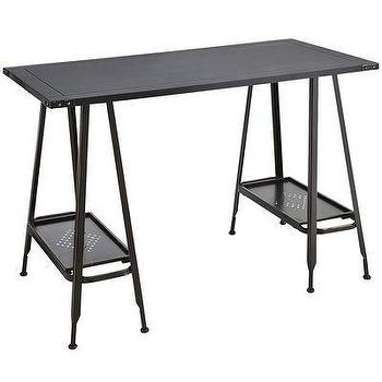 Tables - Weldon Desk - Burnt Umber I Pier One - metal desk, metal trestle desk, a frame trestle desk,