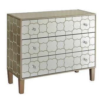Storage Furniture - Champagne Quatrefoil Mirrored Chest | Kirklands - mirrored chest of drawers, quatrefoil chest of drawers, mirrored quatrefoil chest,