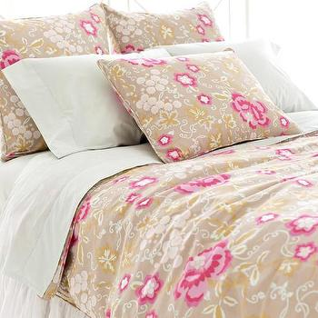 Bedding - Ume Platinum Duvet Cover | Pine Cone Hill - beige and pink floral bedding, beige and pink floral duvet, beige and pink botanical duvet,