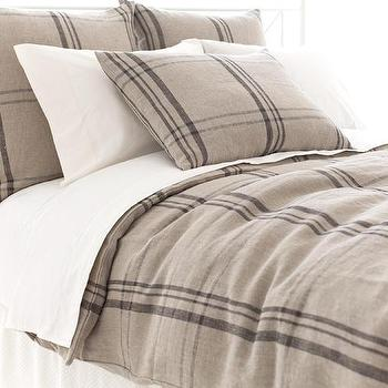 Bedding - Farmhouse Linen Java/Natural Duvet Cover | Pine Cone Hill - linen plaid duvet cover, neutral plaid bedding, plaid bedding, linen plaid duvet,