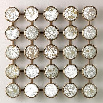 Mirrors - Mystic Wall Sculpture | HomeDecorators.com - sculptural wall mirror, antiqued dot wall mirror, antiqued mirror panel,