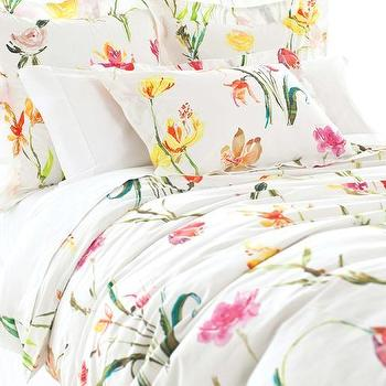 Watercolor Flowers Duvet Cover, Pine Cone Hill