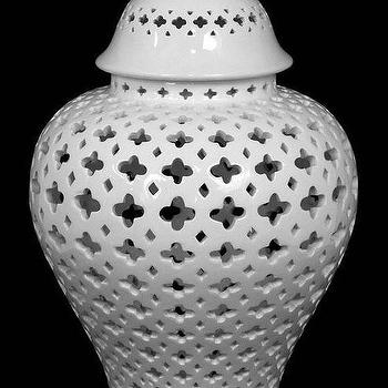 Decor/Accessories - Carthage Pierced Lantern | HomeDecorators.com - pierced white jar, pierced white lantern, pierced ginger jar,
