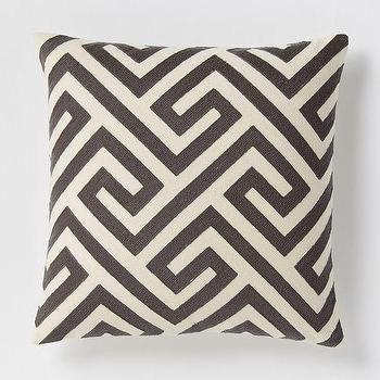 Pillows - Crewel Key Pillow Cover - Slate | West Elm - black and ivory greek key pillow, black and ivory geometric pillow, greek key crewelwork pillow,