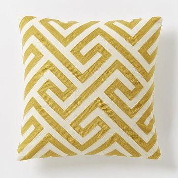 Pillows - Crewel Key Pillow Cover - Horseradish | West Elm - mustard yellow geometric pillow, mustard yellow greek key pillow, greek key crewelwork pillow,