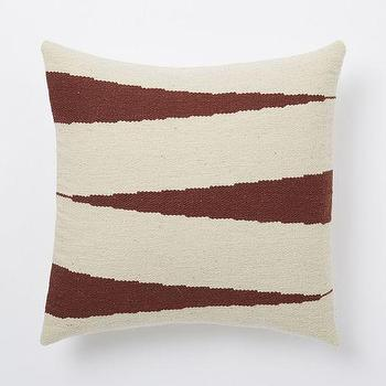 Pillows - Steven Alan Zigzag Pillow Cover - Huckleberry | West Elm - red and beige zig zag pillow, red and beige woven pillow, zig zag pllow case,