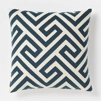Pillows - Crewel Key Pillow Cover - Blue Lagoon | West Elm - navy and cream greek key pillow, navy greek key pillow, navy geometric pillow,
